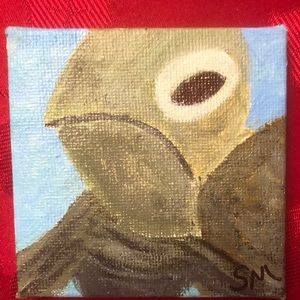 """3x3"""" Mini Painting of a Mischievous Turtle"""